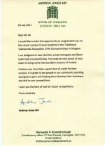 Letter of Commendation from House of Commons on 20 Jul 2011